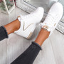 Fabba White Gold Lace Up Trainers