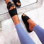 Mannya Black Slip On Sandals