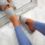 Mannya Grey Slip On Sandals