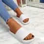 Mannya White Slip On Sandals
