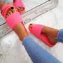 Eka Fluorescent Fuchsia Flat Sandals