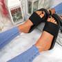 Eka Black Flat Sandals
