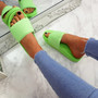 Eka Fluorescent Green Flat Sandals