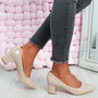 Nya Beige Block Heel Pumps