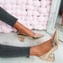 Nya Champagne Block Heel Pumps