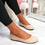 Evera Beige Slip On Ballerinas