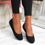 Evera Black Slip On Ballerinas