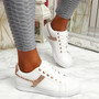Lezma White Champagne Lace Up Trainers