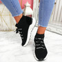 Rogy Black Lace Up Sock Sneakers