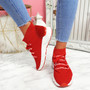 Rogy Red Lace Up Sock Sneakers