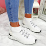 Rogy White Lace Up Sock Sneakers