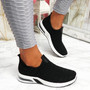 Essy Black Slip On Knit Trainers