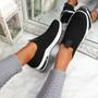 Essy Black Slip On Knit Trainers