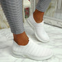 Essy White Slip On Knit Trainers