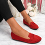 Oze Red Flat Ballerinas