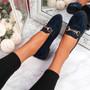Sise Dark Blue Studded Ballerinas