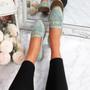 Kepy Green Fringe Flat Ballerinas