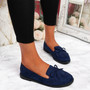 Kolly Dark Blue Bow Fringe Ballerinas