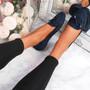 Invy Dark Blue Slip On Bow Ballerinas