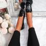 Invy Black Pu Slip On Bow Ballerinas