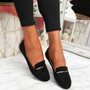 Lessy Black Buckle Flat Ballerinas