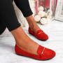 Lessy Red Buckle Flat Ballerinas