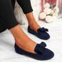 Vinny Navy Bow Flat Ballerinas