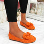 Vinny Orange Bow Flat Ballerinas