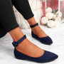 Offy Dark Blue Ankle Strap Ballerinas