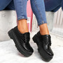Rosy Black Croc Flatform Pumps