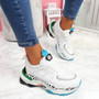 Fossy White Green Chunky Trainers