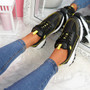 Zennya Black Yellow Chunky Sneakers