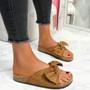 Lela Camel Bow Flat Sandals
