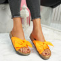 Lela Orange Bow Flat Sandals