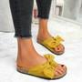 Lela Yellow Bow Flat Sandals