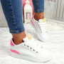 Semma White Rose Lace Up Trainers