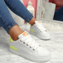 Semma White Yellow Lace Up Trainers