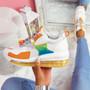 Rety White Orange Clear Sole Trainers