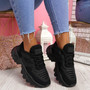 Levve Black Mesh Chunky Sneakers