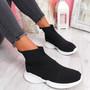 Mimi Black Knit Sock Sneakers