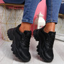 Movy Black Pu Chunky Trainers