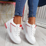 Sonna White Red Wedge Trainers