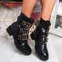 Bonne Black Croc Buckle Ankle Boots