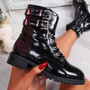 Nibba Black Patent Biker Ankle Boots