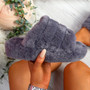 Onso Dark Grey Fluffy Sliders