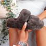 Lobi Brown Fluffy Sandals