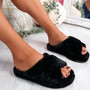 Monny Black Fluffy Sliders