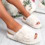 Ponna Beige Fluffy Sandals