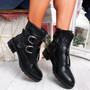 Kuja Black Pu Zip Ankle Boots