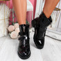 Kuja Black Patent Zip Ankle Boots